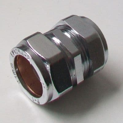 22mm Chrome Plated Brass Compression Coupling