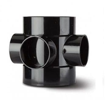 4 inch / 110mm Soil Pipe Short Boss Connector - Black - 43BSE060