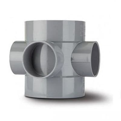 4 inch / 110mm Soil Pipe Short Boss Connector - Grey - 46BSE060