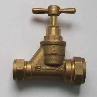 Brass 15mm to 20mm MDPE Reducing Stop Cock - 07001660