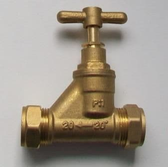 Brass 20mm Compression MDPE Alkathene Stop Cock - 07001670