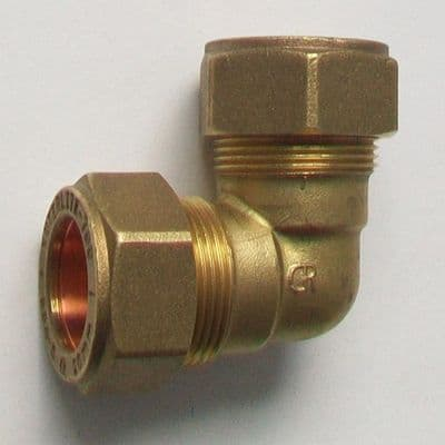 Brass Compression Elbow MDPE Alkathene 20mm - 18442000