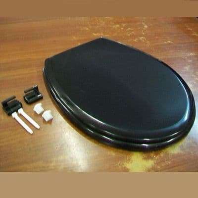 Celmac Melody Black Toilet Seat and Hinges - 02012231