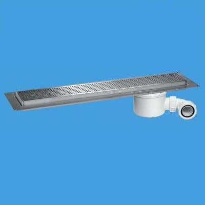 McAlpine Shower Channel Drain Polished Grid Stainless Steel
