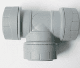 Polyplumb Push Fit 28mm Pipe Equal Tee Fitting - 29P24028