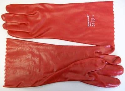Red Long 14 inch Gauntlet PVC Gloves
