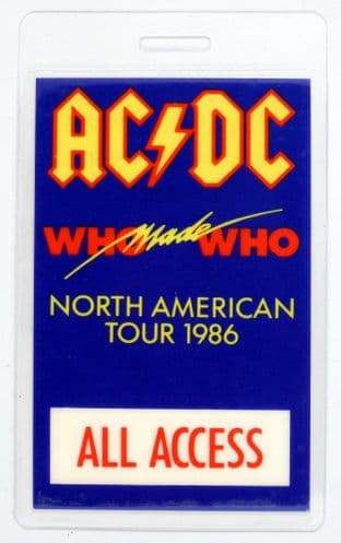 AC/DC - 'Who Made Who North American Tour 1986' Vintage Laminated Backstage Pass