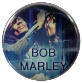 Bob Marley - 'On Stage Blue' Button Badge