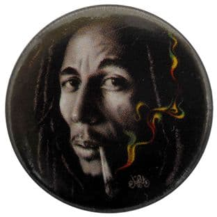 Bob Marley - 'Rasta Smoke' Button Badge