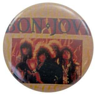 Bon Jovi - 'Group Flames' Button Badge