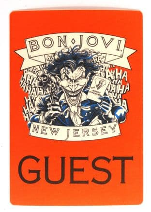 Bon Jovi 'New Jersey Syndicate Tour 1998 Guest' Red OTTO Backstage Pass