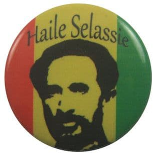 Haile Selassie - 'Head & Name' Button Badge