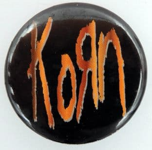 Korn - 'Wood Logo' Large Button Badge