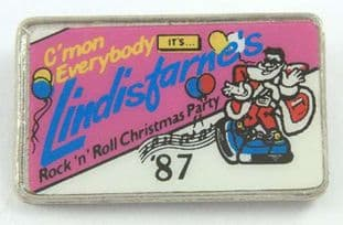 Lindisfarne - 'Rock 'n' Roll Christmas Party '87' Lapel Badge