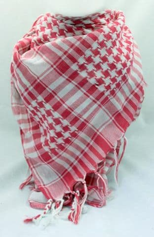 Pink and White Arab Shemagh Fashion Scarf