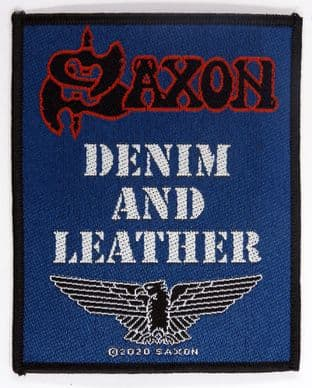 Saxon - 'Denim and Leather' Woven Patch