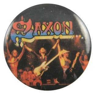 Saxon - 'Stage Arms Raised' Button Badge