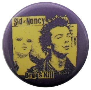 Sex Pistols - 'Sid & Nancy Drugs Kill' Button Badge