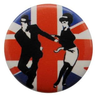 SKA - 'Rude Boy & Girl Union Jack' Button Badge
