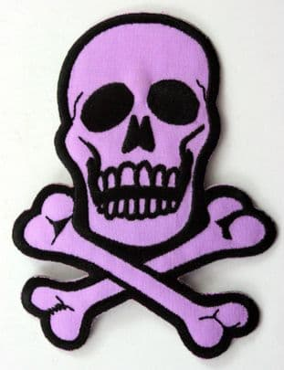 Skull and Crossbones - 'Lilac' Embroidered Patch