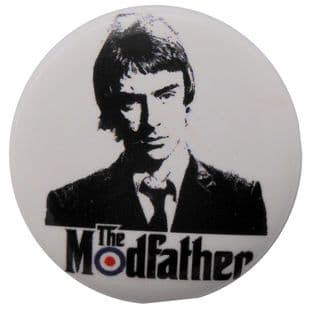 The Jam - 'Paul Weller The Modfather (White)' Button Badge