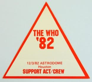 The Who 'Astrodome Houston '82' Support Act/Crew' Vintage Red Backstage Pass