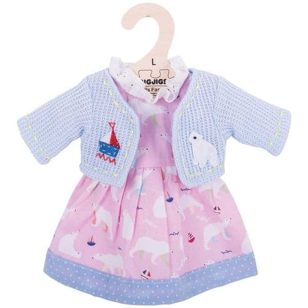 Blue and pink dress and cardigan, approx 38cm doll