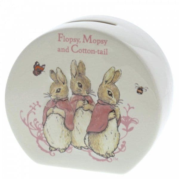 Flopsy, Mopsy  and Cotton-tail porcelain money bank.