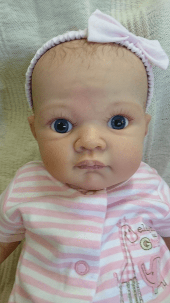 Isabelle, reborn baby doll with full limbs. Hand painted hair. 50cm