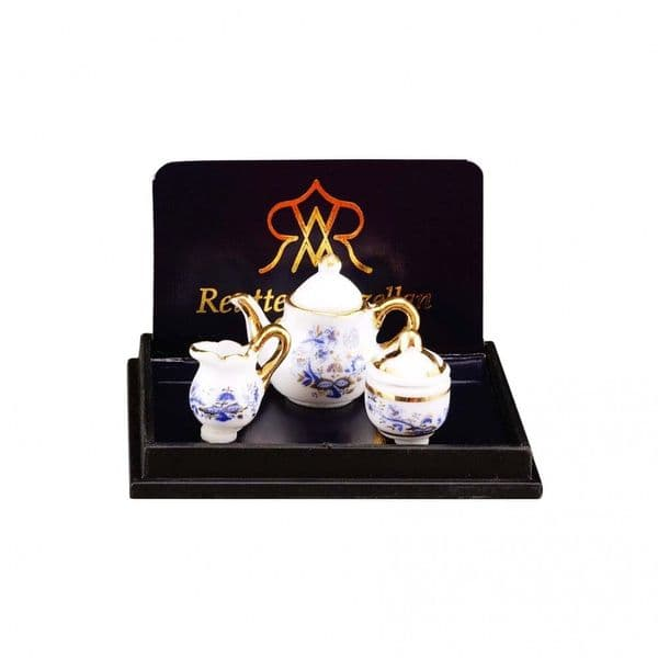 Reutter, 12th scale. Blue & gold tea set.