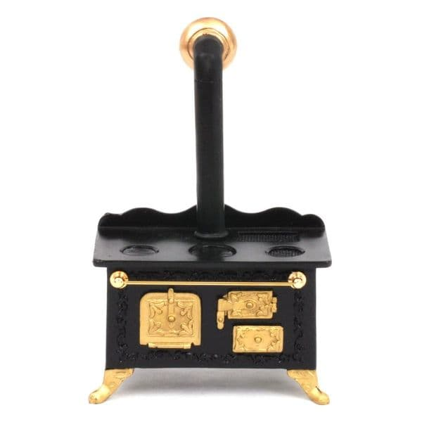 Reutter, Black and gold dolls house stove.