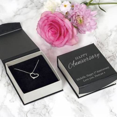 Anniversary Silver Heart Necklace