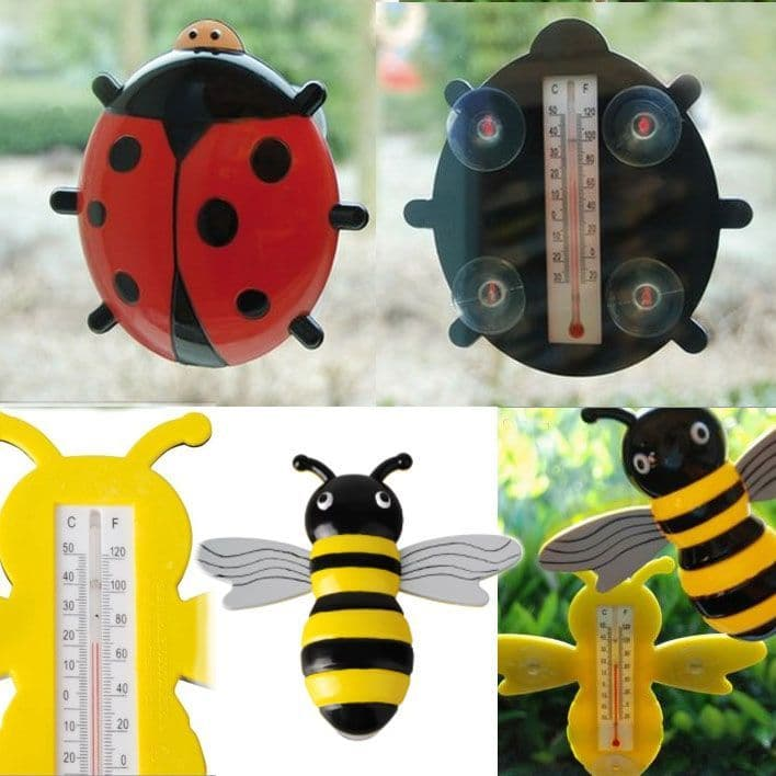 Bee and Ladybird Window Thermometers