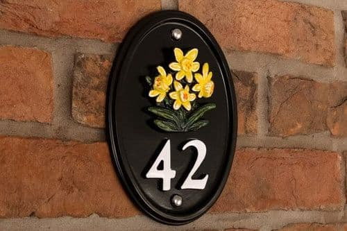 Cast Metal House Numbers with Painted Motif A4
