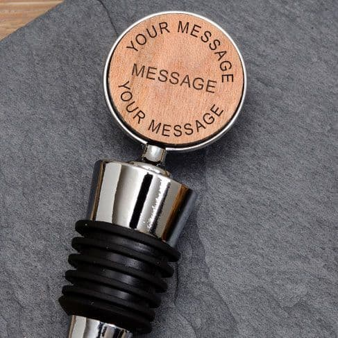 Cherrywood Bottle Stopper with Any Message