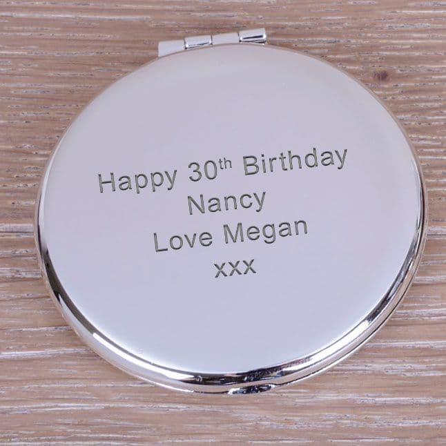Compact Mirror - Your Own Message - Round with  Straight Text