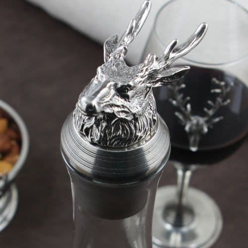 Crystal and Pewter Stag Decanter