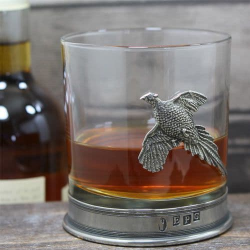 Engraved Glass Tumbler - Pewter Pheasant