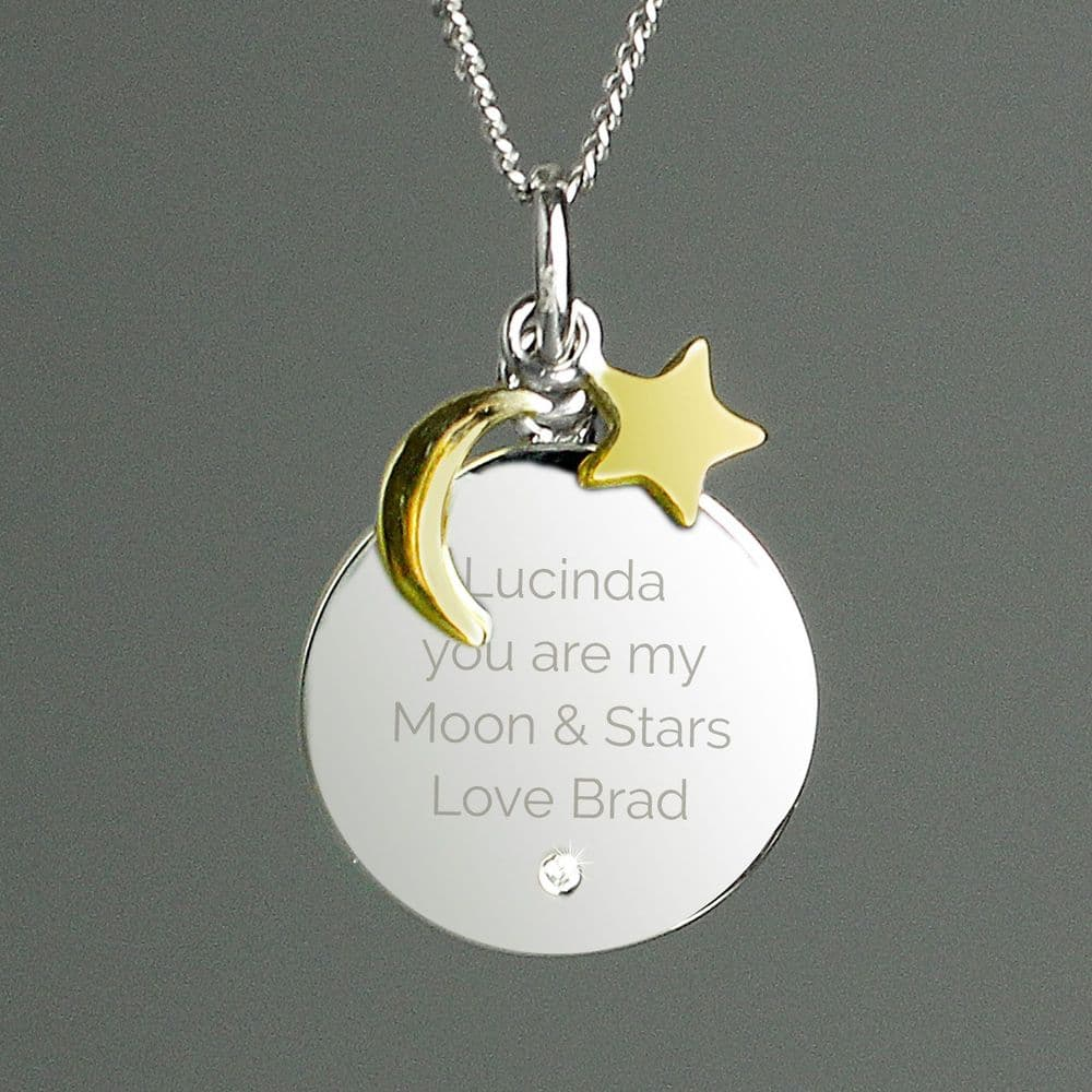 Engraved Silver Necklace with Moon & Stars