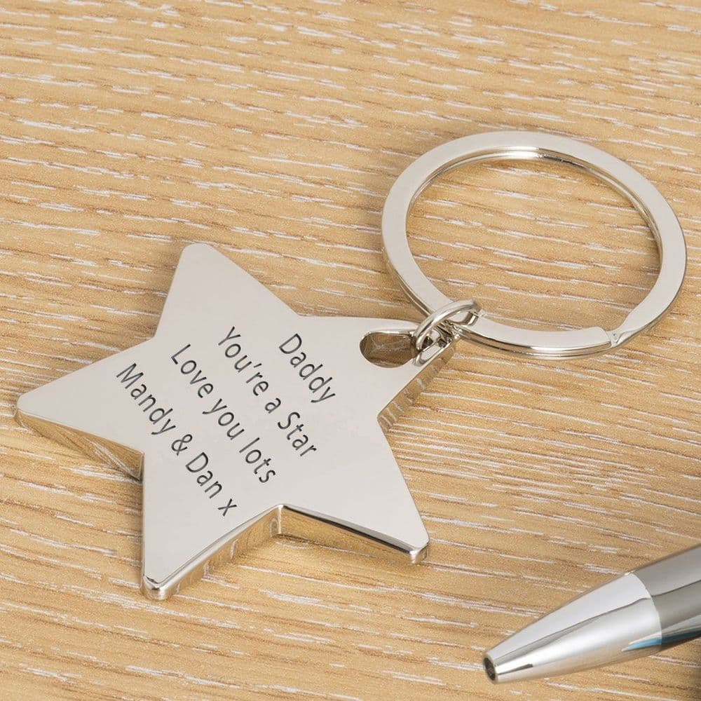 Engraved Star Key Ring - Your Message