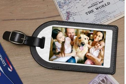 Faux Leather Luggage Tag With Photo