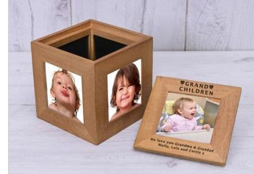 Grandchildren Oak Photo Box