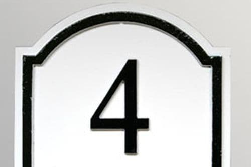 Hand Painted Arch Top Cast House Number STHN5 - Inset Border - 145mm x 130mm