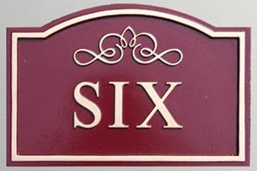 Hand Painted Arch Top Cast Sign STSR5 - 1 Line of Straight Text with inset Border & Scroll