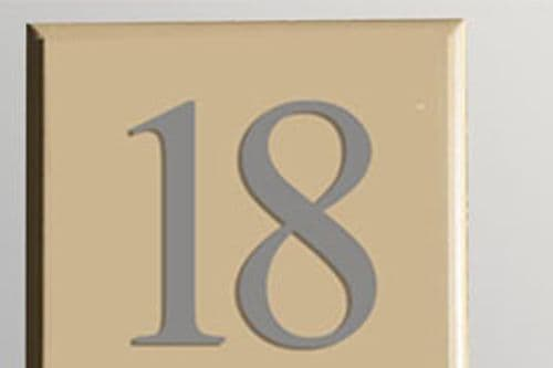 Hand Painted Cast Square House Number STHN3 - Chamfered Edges