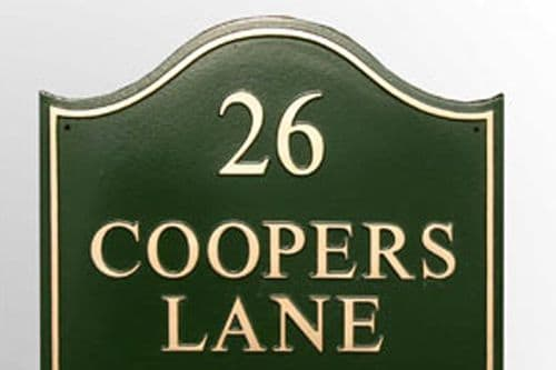 Hand Painted Large Domed Rectangular Cast Sign STDR5 - Up to 3 lines and number