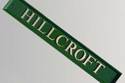 Hand Painted Narrow Rectangular Cast Sign STR2 - 1 line of straight text & Unpainted Rim