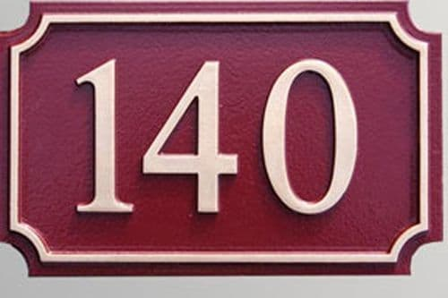 Hand Painted Rectangular Cast House Number STHN8 - Scalloped Corners and Inset Border