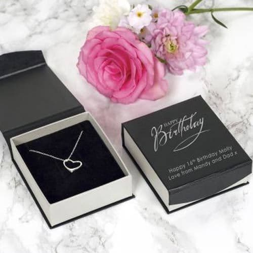 Happy Birthday Silver Heart Necklace (009)