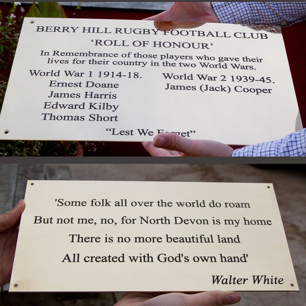 Large 2mm Engraved Brass Memorial Plaques